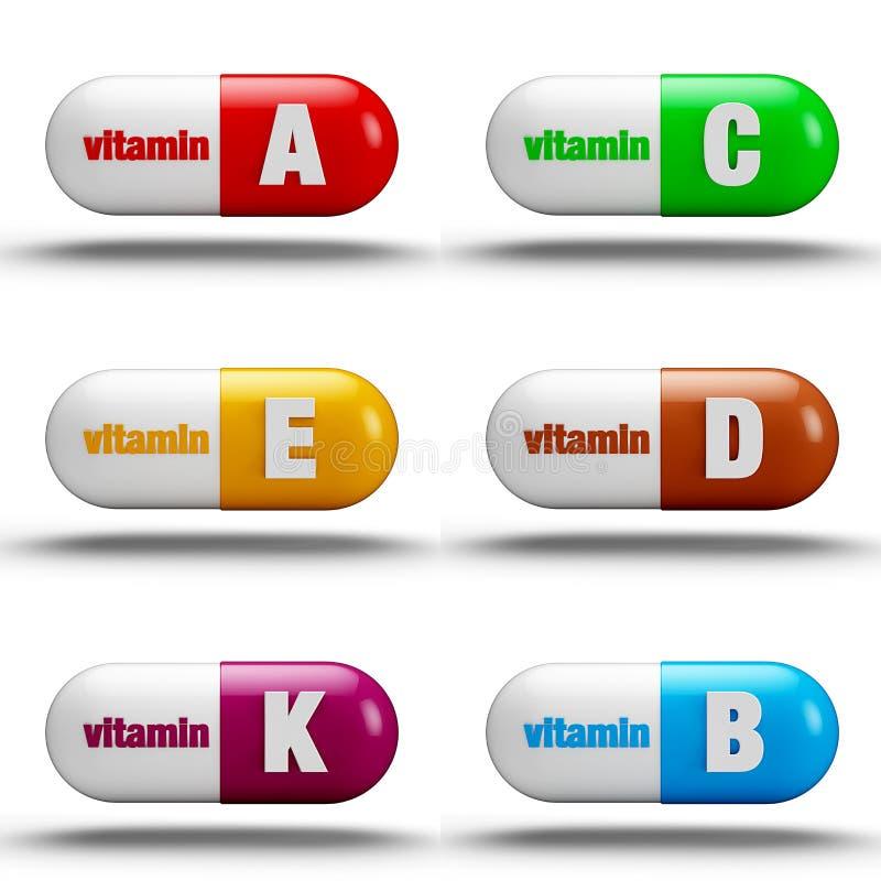 Comprimidos da vitamina ilustração stock