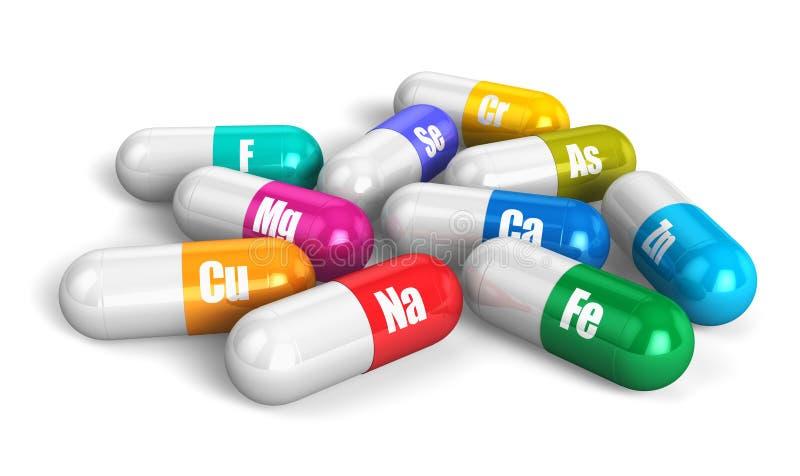 Comprimidos da vitamina da cor ilustração royalty free