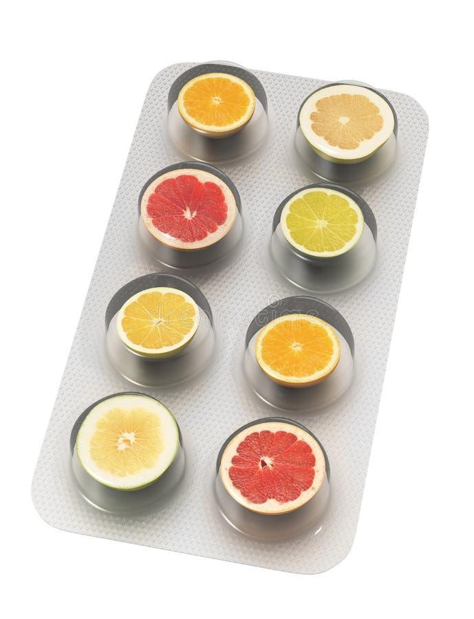 Comprimidos do citrino ilustração do vetor