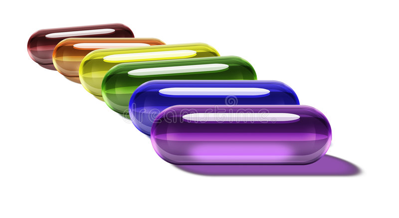 Comprimidos do gel do arco-íris - horizontais ilustração do vetor