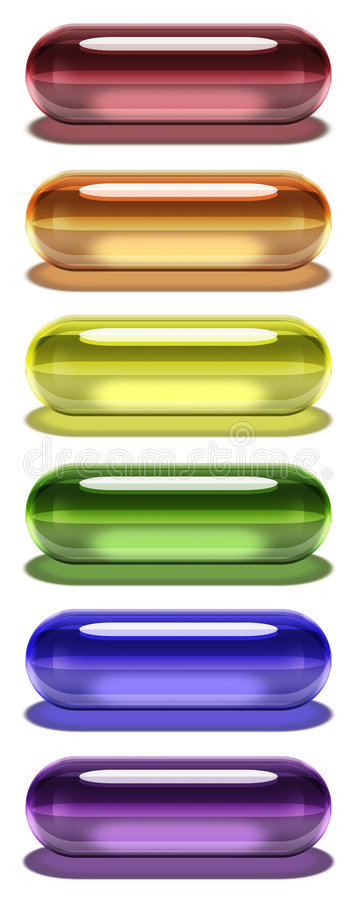 Comprimidos do gel do arco-íris - vertical com sombra ilustração stock