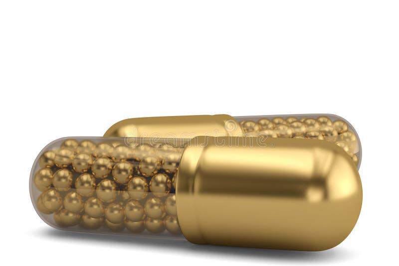 Comprimidos dourados e bolas douradas dentro da cápsula isolada no fundo branco ilustra??o 3D ilustração do vetor