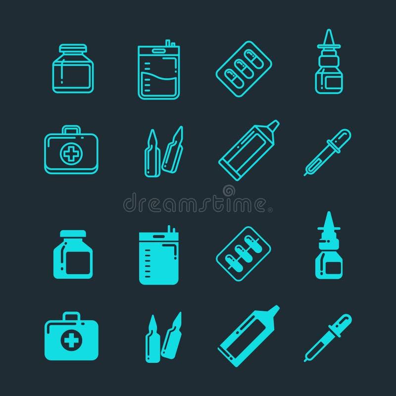 Comprimidos, drogas, medicina da farmácia, linha da medicamentação e ícones da silhueta ajustados ilustração do vetor