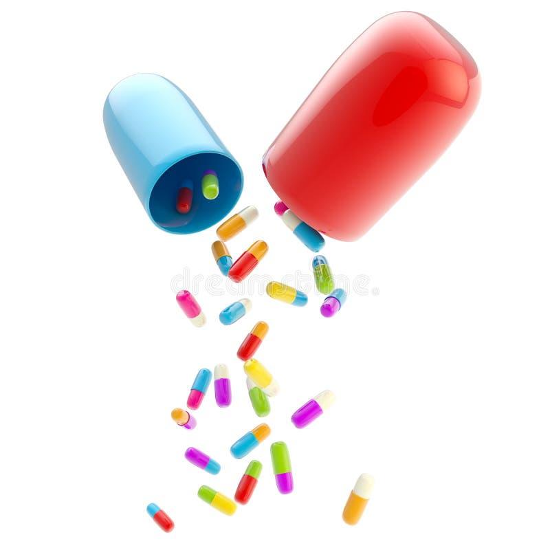 Comprimidos médicos dentro do enorme isolados ilustração stock