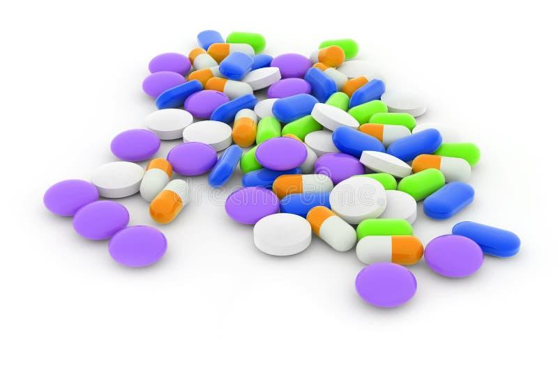 Comprimidos misturados ilustração do vetor