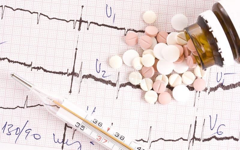 Comprimidos no cardiogram imagens de stock royalty free