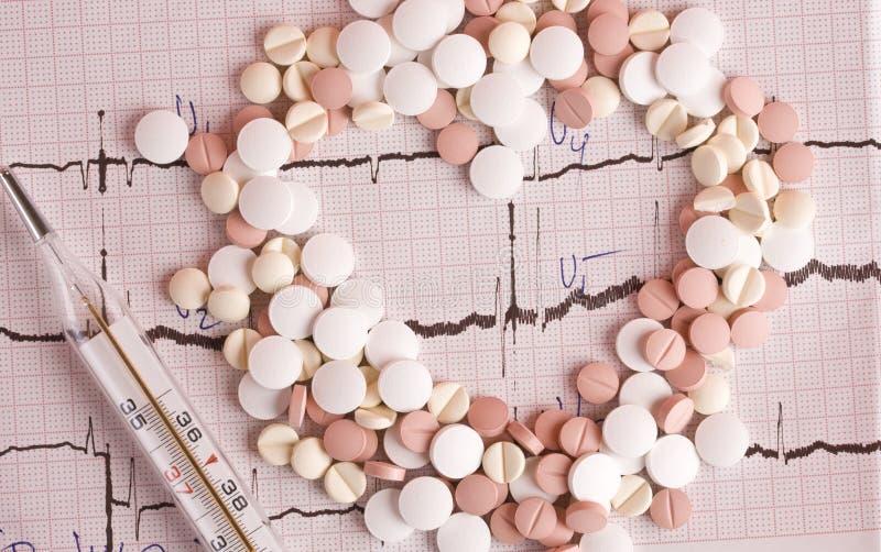 Comprimidos no cardiogram imagem de stock royalty free