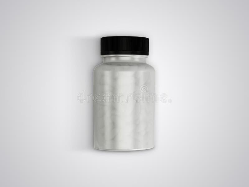 Comprimidos ou opinião superior da garrafa clara das cápsulas do suplemento ilustração royalty free