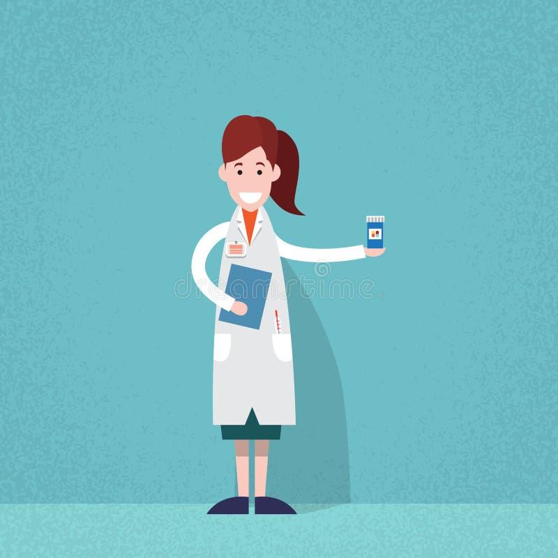 Comprimidos profissionais do médico Woman Pharmacist Hold ilustração do vetor