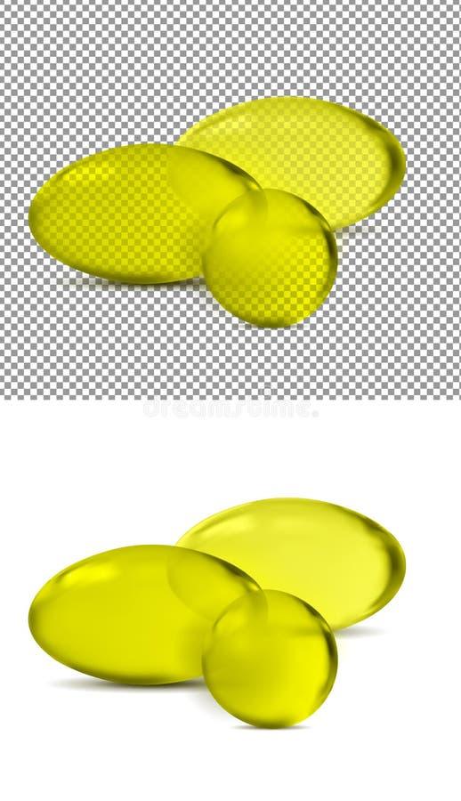 Comprimidos transparentes amarelos do vetor 3d ilustração do vetor