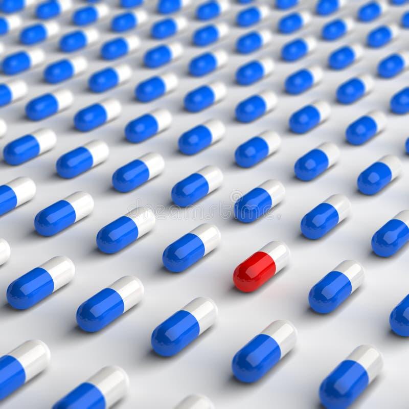 Comprimidos vermelhos e azuis ilustração do vetor