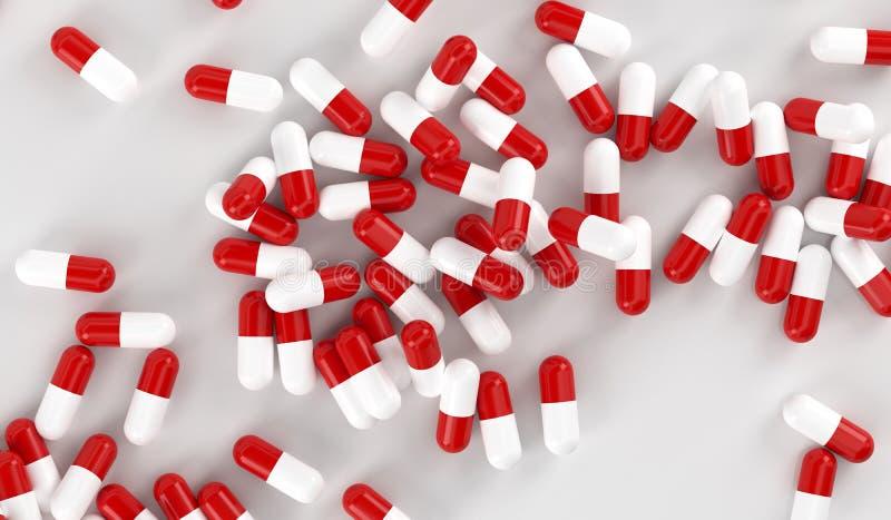 Comprimidos vermelhos e brancos da cápsula ilustração stock