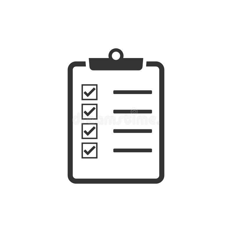 Comprobando, lista de control, documento, lista, icono de la verificación Ejemplo del vector, diseño plano libre illustration