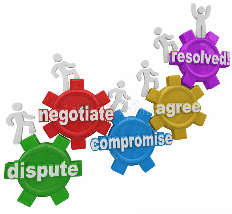 Compromise Dispute Negotiation Agreement Resolution People on Ge. Compromise reached by people marching up gears to resolve differences in discussion vector illustration