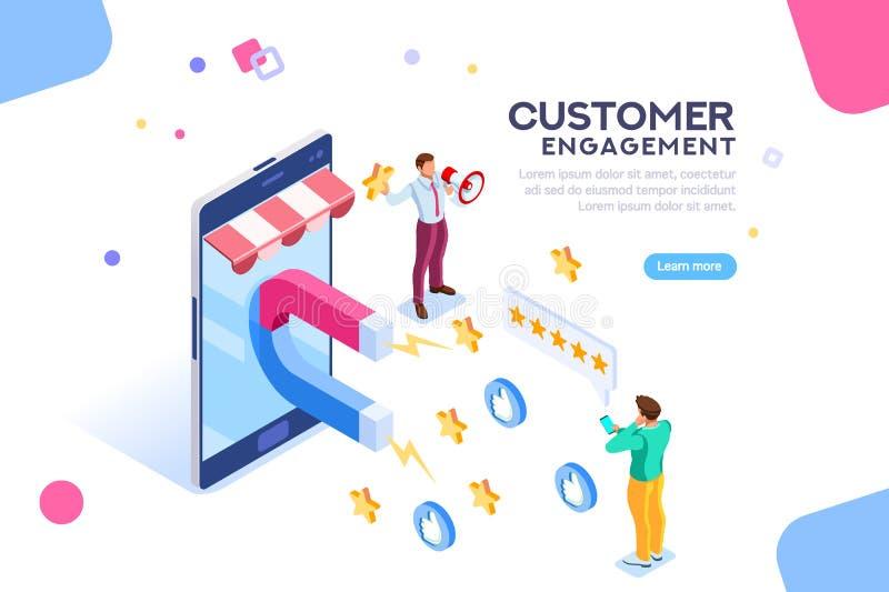 Compromiso del cliente para como o estrella stock de ilustración
