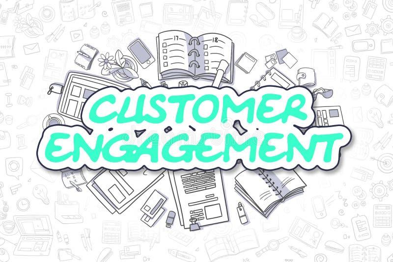 Compromiso del cliente - texto verde del garabato Concepto del asunto stock de ilustración