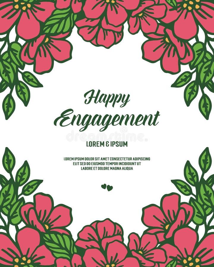 Compromiso feliz del texto del ejemplo del vector para el marco hermoso de la flor libre illustration