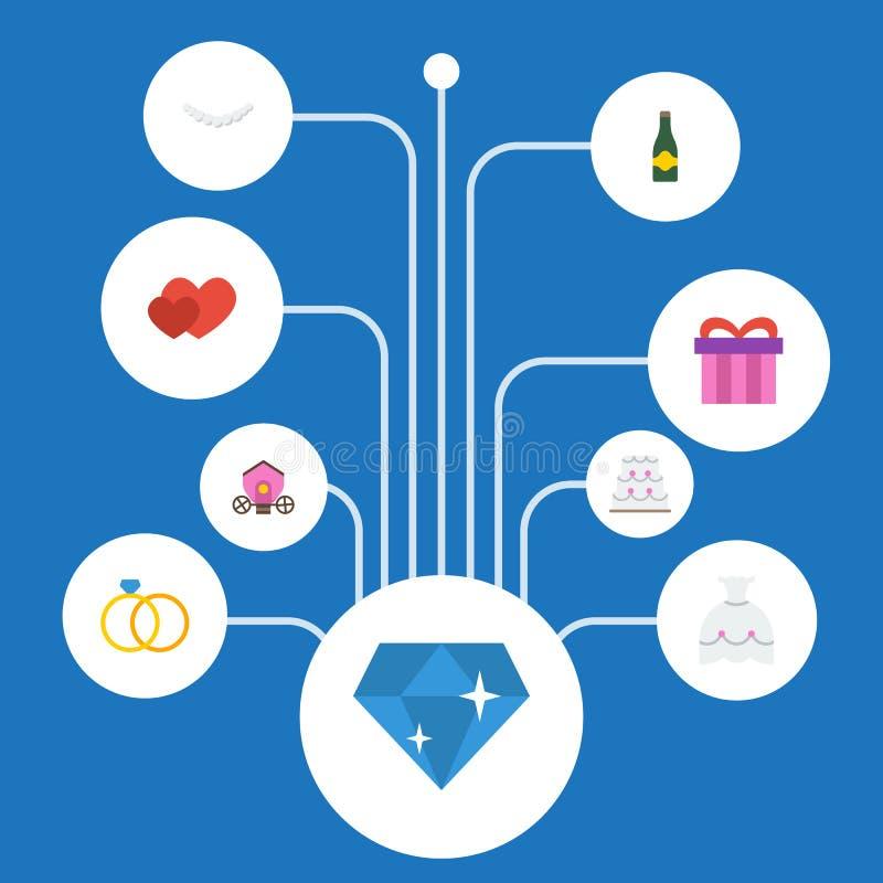 Compromiso plano de los iconos, carro, pastelería y otros elementos del vector El sistema de símbolos planos de los iconos de la  libre illustration