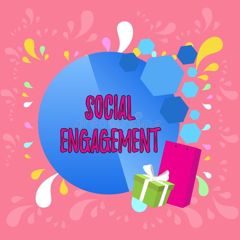 Compromiso social del texto de la escritura de la palabra Concepto del negocio para el grado de compromiso en una comunidad en l? ilustración del vector
