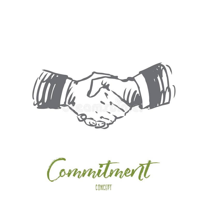 Compromisso, mão, negócio, negócio, conceito da parceria Vetor isolado tirado mão ilustração royalty free