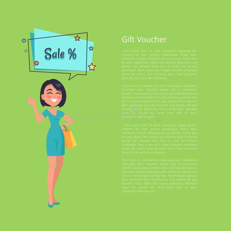 Comprovante de presente com a mulher que pensa sobre o vetor da venda ilustração do vetor