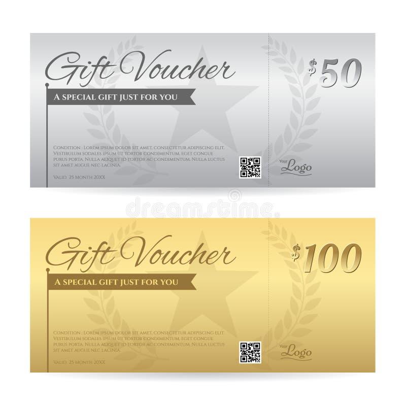 Comprovante de presente ou molde elegante do certificado do vale-oferta ilustração stock