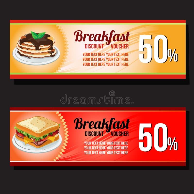 Comprovante do disconto do café da manhã ilustração do vetor