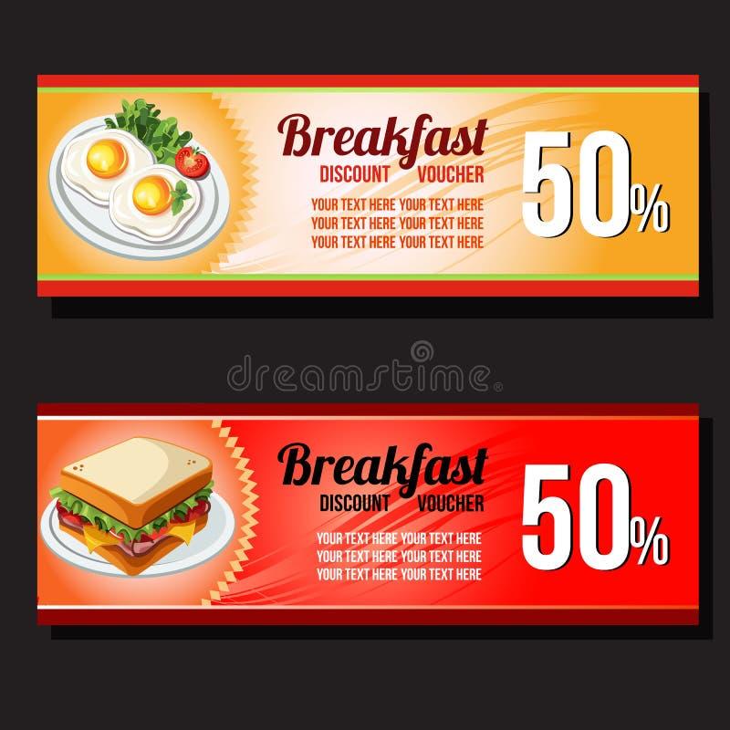 Comprovante do disconto do ovo e do sanduíche ilustração stock