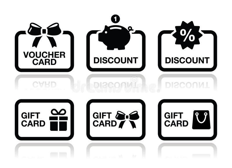 Comprovante, presente, ícones do vetor do cartão do disconto ajustados