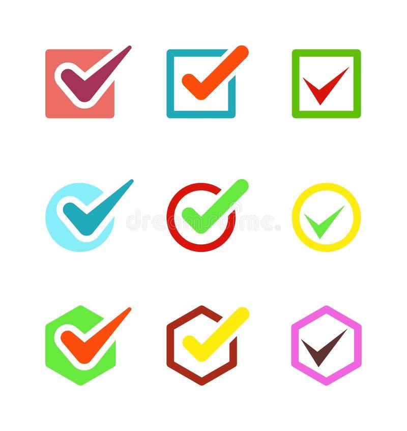 Compruebe el botón del icono del voto ilustración del vector