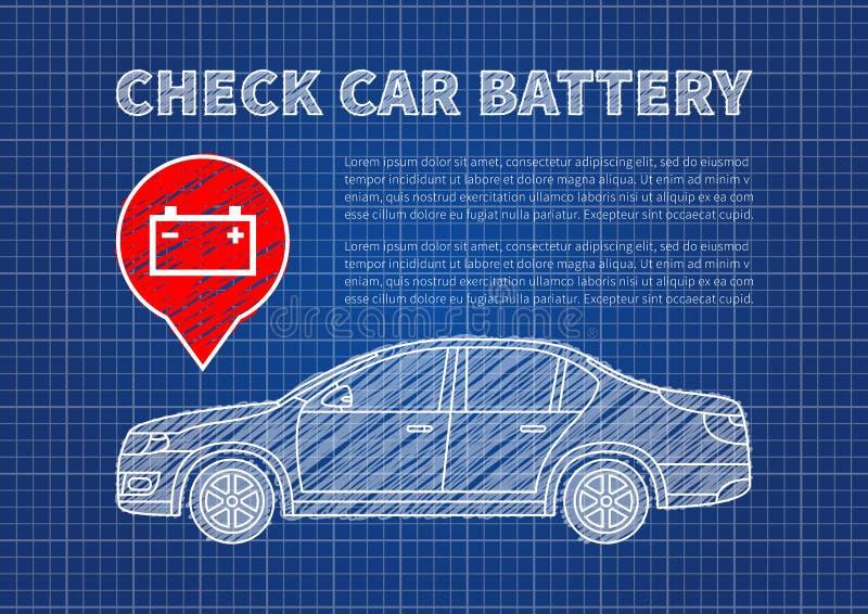 Compruebe el ejemplo del vector de la batería de coche ilustración del vector