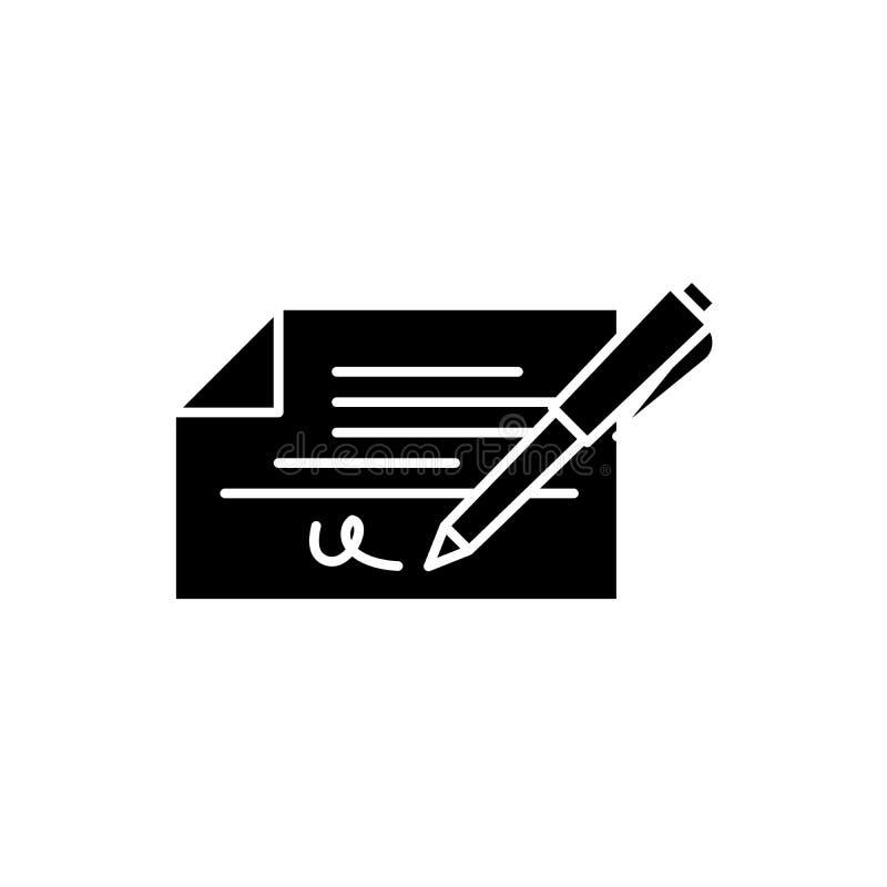 Compruebe el icono del negro de la firma, muestra del vector en fondo aislado Símbolo del concepto de la firma del control, ejemp libre illustration