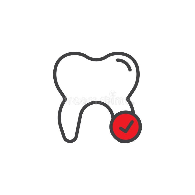 Compruebe el icono llenado diente del esquema ilustración del vector