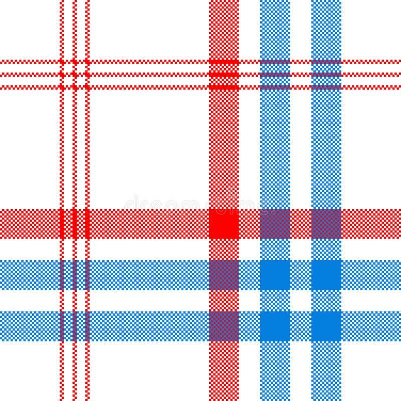 Compruebe la materia textil blanca con el modelo inconsútil de las rayas rojas y azules stock de ilustración