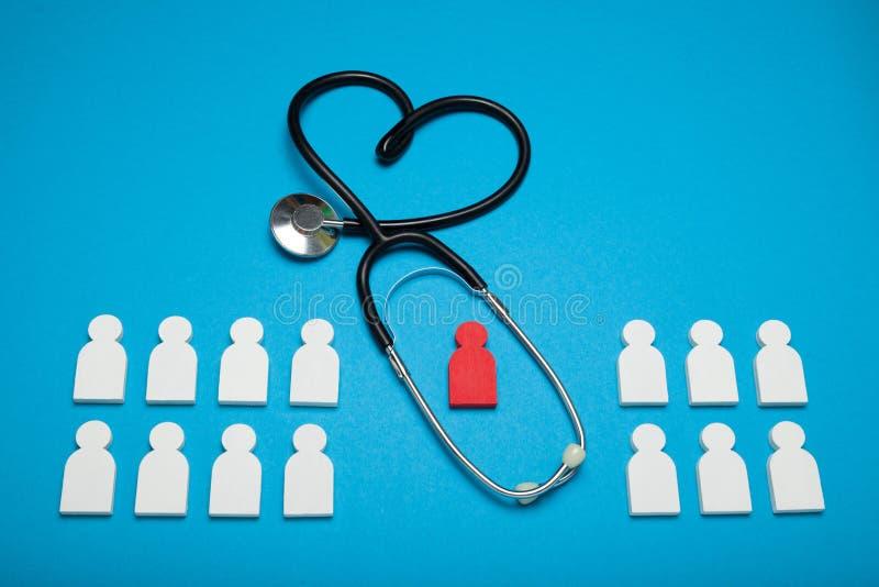 Compruebe la salud del corazón, enfermedad de la hipertensión Estetoscopio, cardiología fotografía de archivo