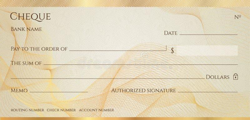Compruebe, plantilla del talonario de cheques del cheque Modelo del guilloquis con la línea abstracta filigrana, frontera