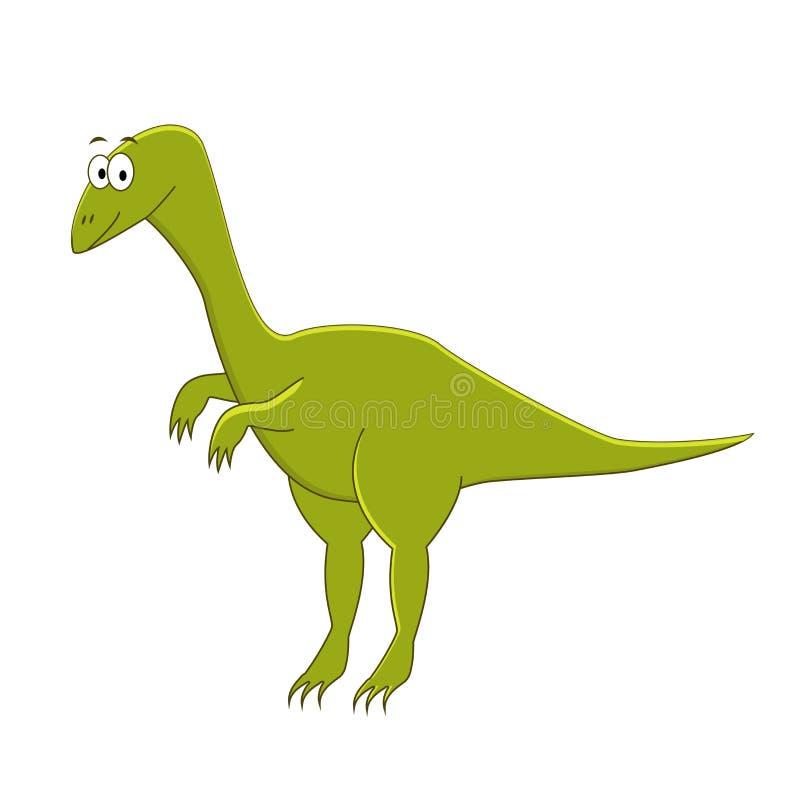 Compsognathus bonito dos desenhos animados Ilustração do vetor do isolador do dinossauro ilustração stock