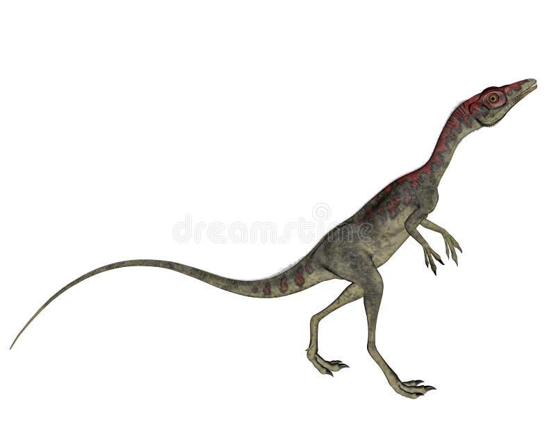 Compsognathusdinosaurus die 3D lopen - geef terug stock illustratie