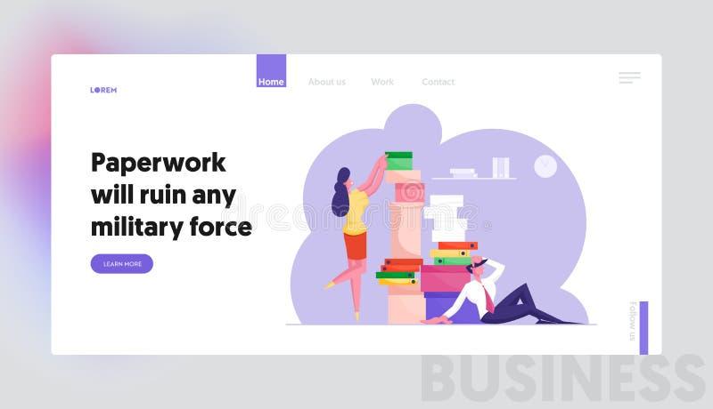 Comptabilité, date limite d'arrivée du site Web Employés du bureau des gens d'affaires avec une énorme quantité de papier illustration libre de droits