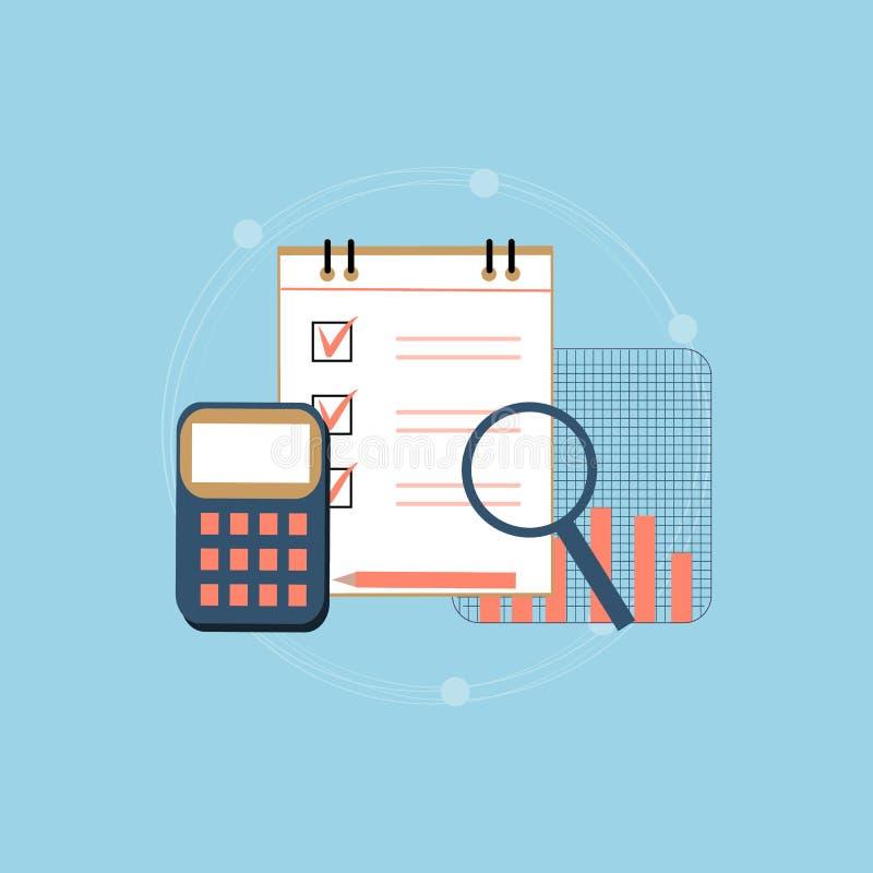 Comptabilité, impôts, audit, calcul, analyse de données, concepts de reportage Conception plate d'illustration illustration de vecteur