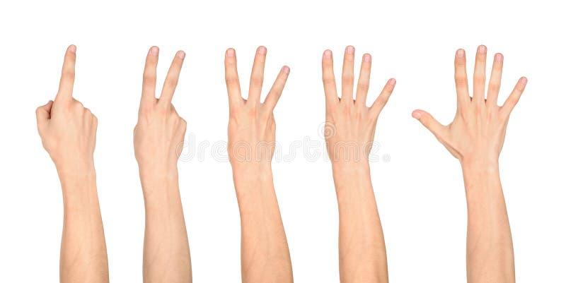 Comptant des mains sur le doigt d'un à cinq photos libres de droits