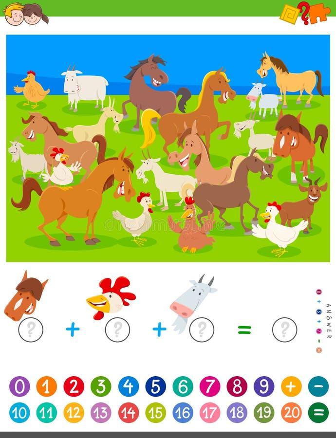 Comptant et ajoutant le jeu avec des animaux de ferme de bande dessinée illustration libre de droits