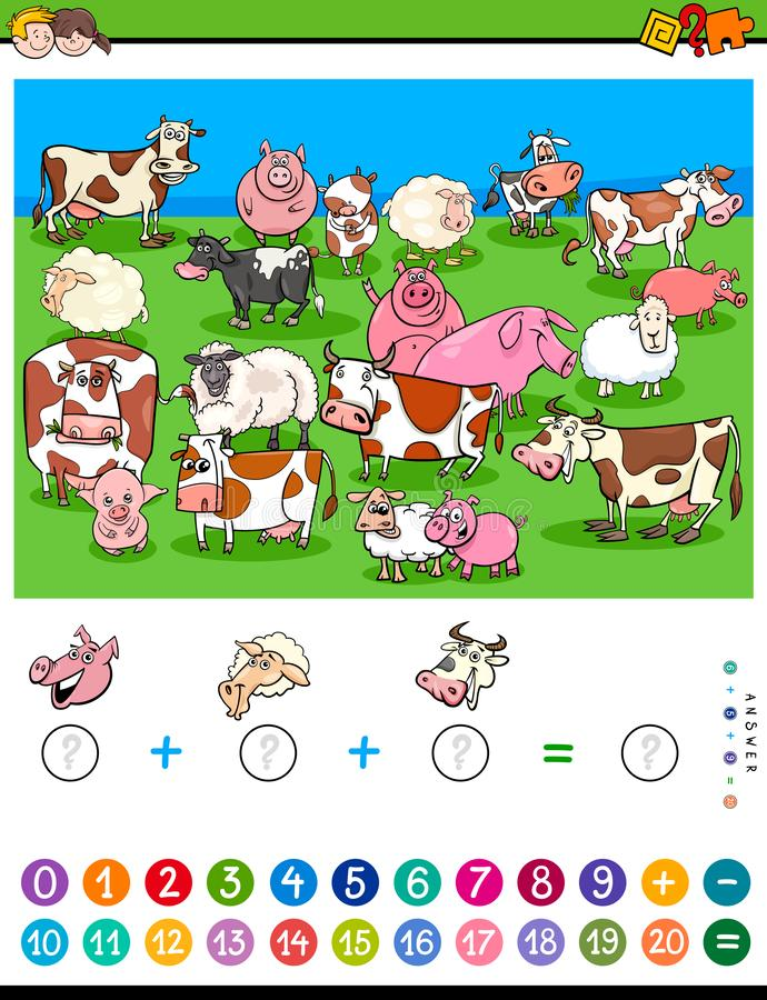 Comptant et ajoutant le jeu avec des personnages de dessin animé illustration de vecteur