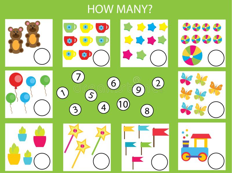 Comptant le jeu éducatif d'enfants, les maths badinent l'activité Combien d'objets chargent illustration libre de droits