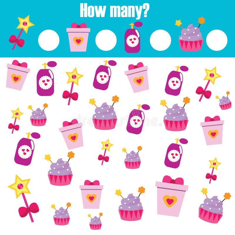 Comptant le jeu éducatif d'enfants, les maths badinent l'activité Combien d'objets chargent illustration stock