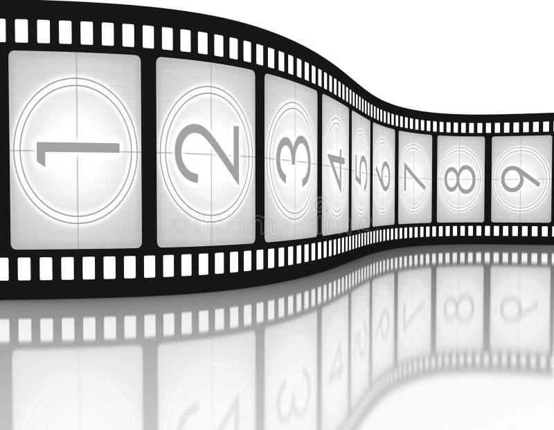 Compte à rebours de Filmstrip illustration stock