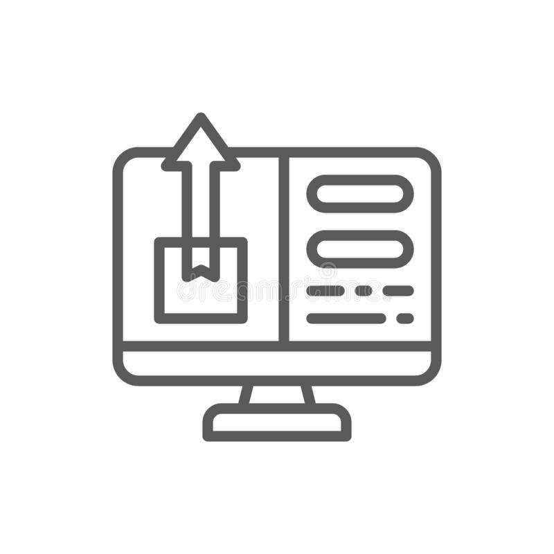Compte avec le paquet dépistant, ligne de livraison rapide icône illustration de vecteur