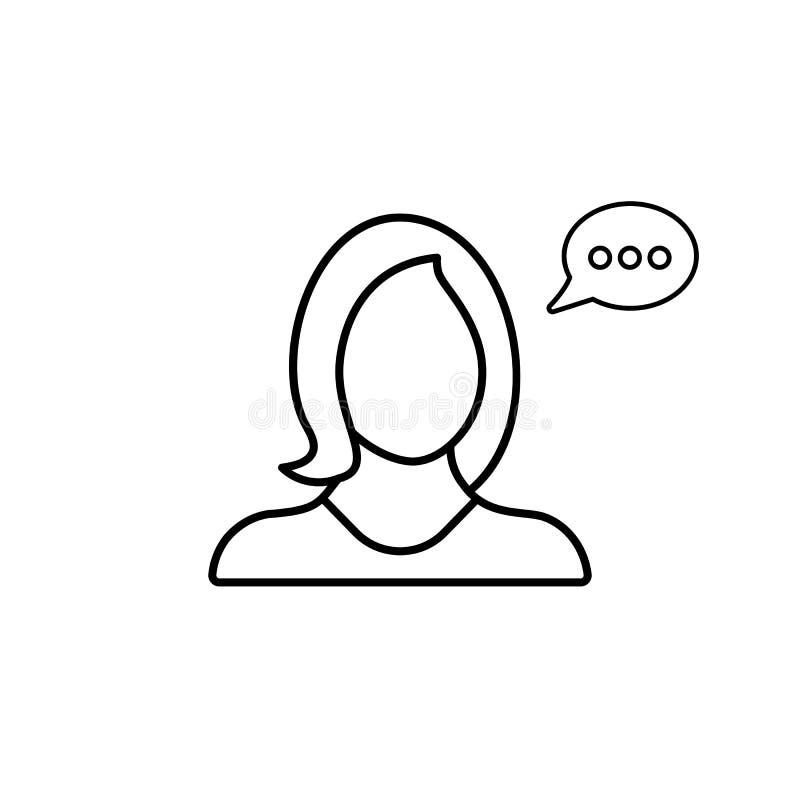 Compte, causerie, message, profil, entretien, utilisateur, icône de femme illustration stock