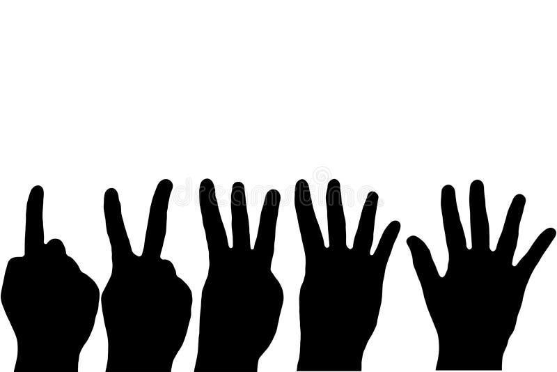 Compte de doigts de main noire illustration de vecteur
