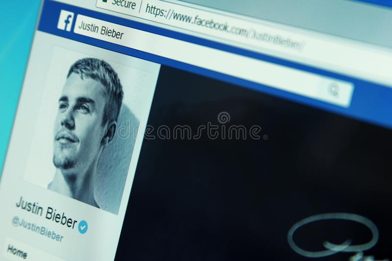 Compte de facebook de Justin Bieber images stock